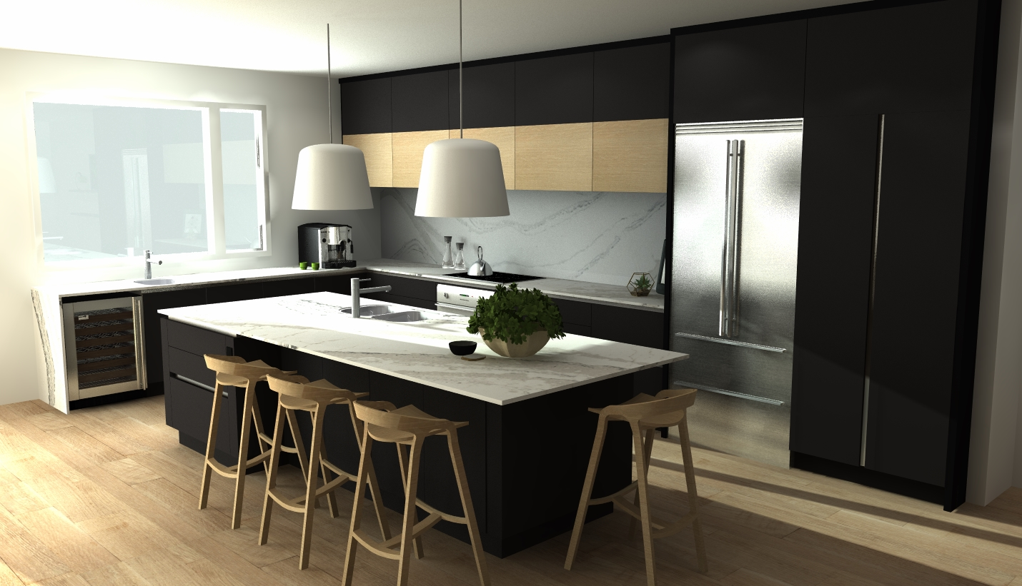 c-channel contemporary black matte kitchen